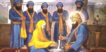 Mata Sahib pouring Pataasay into Amrit